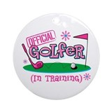 Girl Golfer In Training Ornament (Round)