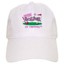 Girl Golfer In Training Baseball Cap