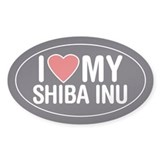 I Love My Shiba Inu Oval Sticker/Decal