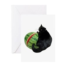 Cat with Watermelon Greeting Card
