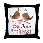 Big Sister of twins - Mod Bird Throw Pillow