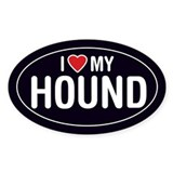 I Love My Hound Oval Sticker/Decal
