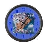 When Pigs Fly Large Wall Clock 17 inch