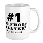 #1 Cornhole Player Large Mug