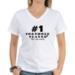 #1 Cornhole Player Women's V-Neck T-Shirt