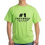 #1 Cornhole Player Green T-Shirt