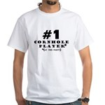 #1 Cornhole Player White T-Shirt