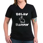 Belay Bunny Women's V-Neck Dark T-Shirt