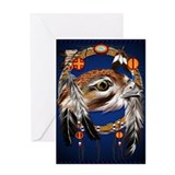 Hawk Face Dream Catcher Greeting Card