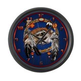 Hawk Face Dream Catcher Large Wall Clock