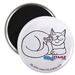 White ASL Kitty Magnet