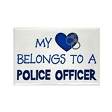 Police Officer's Heart Rectangle Magnet