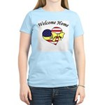 Welcome Home Flag Heart Bow Women's Pink T-Shirt