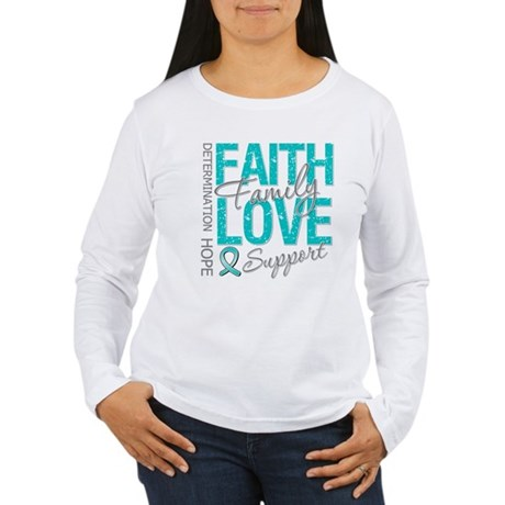 OvarianCancer Faith Women's Long Sleeve T-Shirt