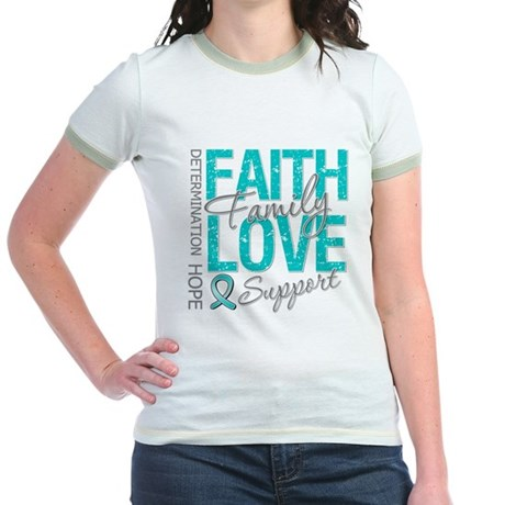 OvarianCancer Faith Jr. Ringer T-Shirt