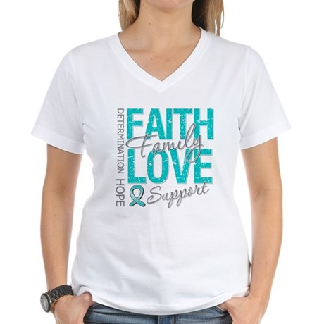 OvarianCancer Faith Women's V-Neck T-Shirt
