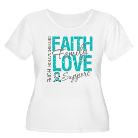 OvarianCancer Faith Women's Plus Size Scoop Neck T