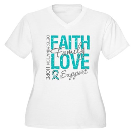 OvarianCancer Faith Women's Plus Size V-Neck T-Shi