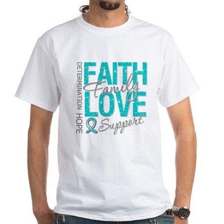 OvarianCancer Faith White T-Shirt