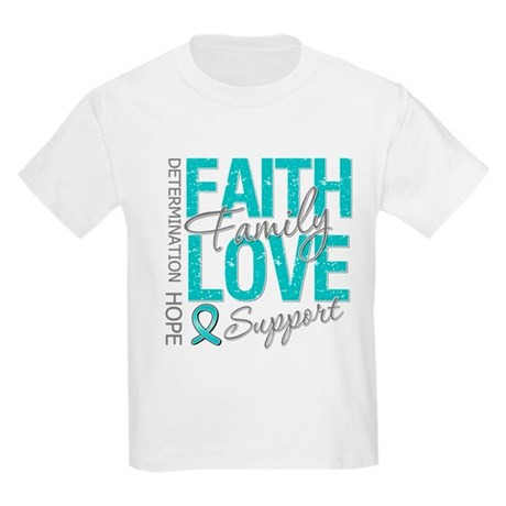 OvarianCancer Faith Kids Light T-Shirt