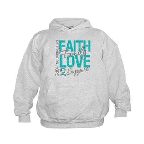OvarianCancer Faith Kids Hoodie