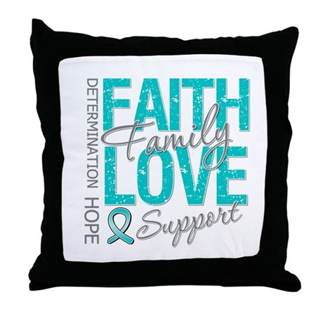 OvarianCancer Faith Throw Pillow