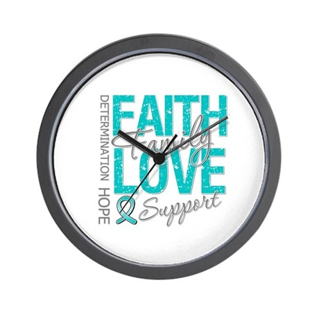 OvarianCancer Faith Wall Clock
