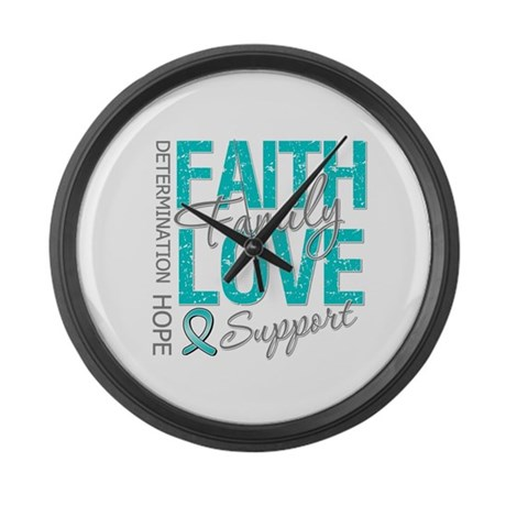 OvarianCancer Faith Large Wall Clock