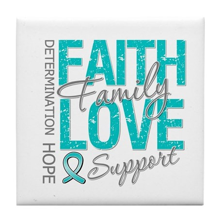 OvarianCancer Faith Tile Coaster
