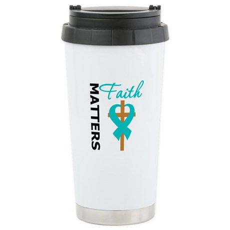 OvarianCancer Cross Ceramic Travel Mug