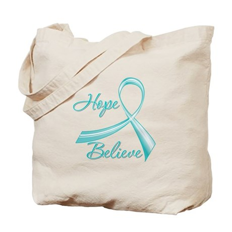OvarianCancer HopeBelieve Tote Bag