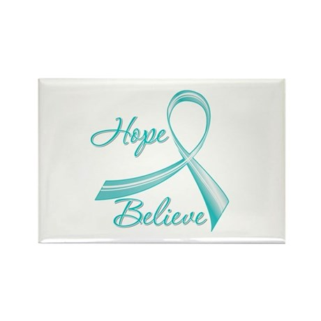 OvarianCancer HopeBelieve Rectangle Magnet