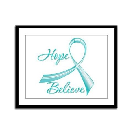 OvarianCancer HopeBelieve Framed Panel Print