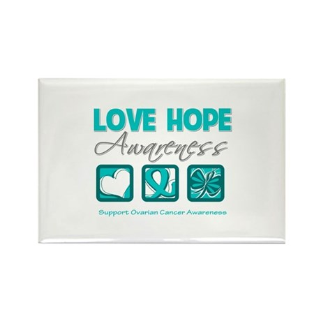 Ovarian Cancer LoveHope Rectangle Magnet