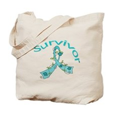 Ovarian Cancer Floral Tote Bag