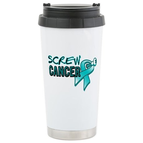 Screw Ovarian Cancer Ceramic Travel Mug