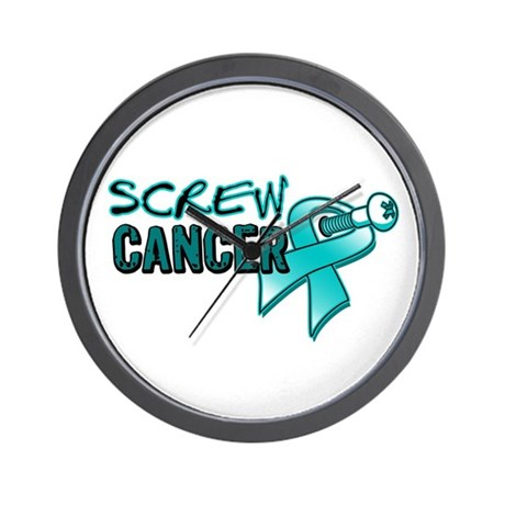 Screw Ovarian Cancer Wall Clock