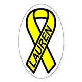 LAUREN - Yellow Ribbon Oval Decal