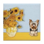 Sunflowers / Yorkie #17 Tile Coaster