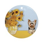 Sunflowers / Yorkie #17 Ornament (Round)