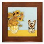 Sunflowers / Yorkie #17 Framed Tile