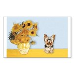 Sunflowers / Yorkie #17 Sticker (Rectangle)