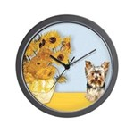 Sunflowers / Yorkie #17 Wall Clock