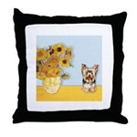 Sunflowers / Yorkie #17 Throw Pillow