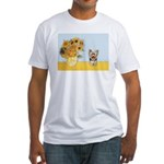 Sunflowers / Yorkie #17 Fitted T-Shirt