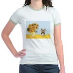 Sunflowers / Yorkie #17 Jr. Ringer T-Shirt