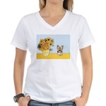 Sunflowers / Yorkie #17 Women's V-Neck T-Shirt