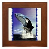 Whales Framed Tile