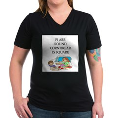 pie lover joke Women's V-Neck Dark T-Shirt