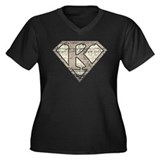 Super Vintage K Logo Women's Plus Size V-Neck Dark